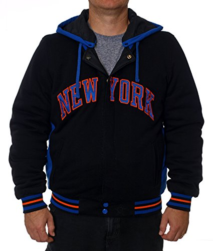 New York Knicks Reversible Fleece & Nylon Hooded Jacket Black & Royal Blue (XX-Large)