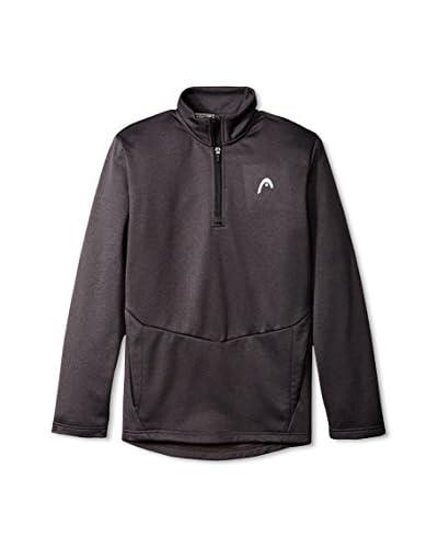 Head Men's Thunder 1/4 Zip Mock Pullover, Black Pullover Heather, XL