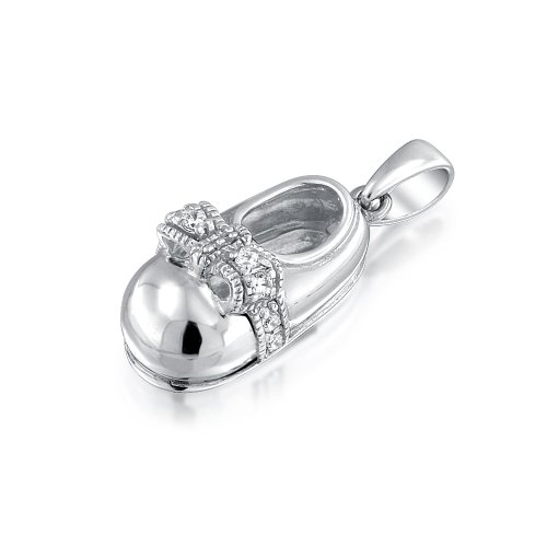 Bling Jewelry Sterling Silver Cubic Zirconia Bow Baby Shoe Charm Pendant front-211804