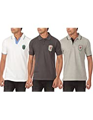 Solid Polo T-shirt White ,dark Grey ,Grey Melange Pack Of 3