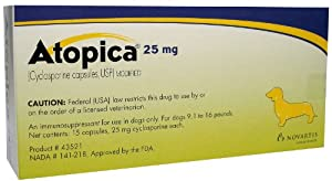 Atopica Capsules (Yellow) - 25 mg - 9.1-16 lbs - 15 count