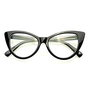 Emblem Eyewear - Super Cat Eye Glasses Vintage Fashion Mod Clear Lens Eyewear
