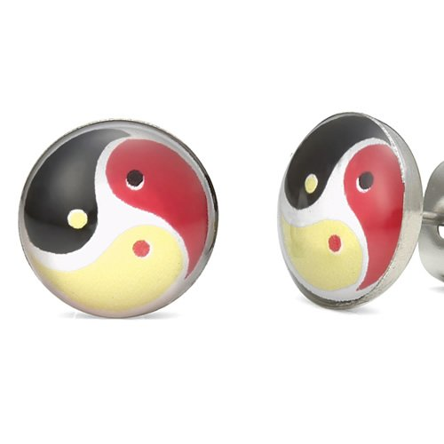 Triple Yin & Yang Earth and Heaven Stainless Steel Men Stud Earrings