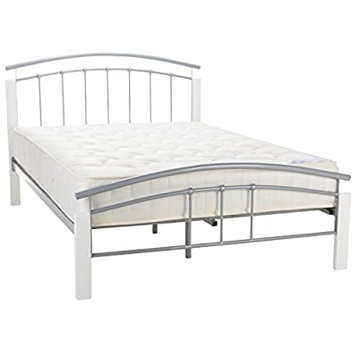 New Tetras Silver 5ft King Size Modern Metal Bed Frame White Wooden Posts