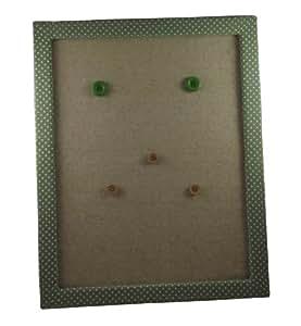 magnetwand mit stoff bezogener rahmen mit tupfenmuster gr n k che haushalt. Black Bedroom Furniture Sets. Home Design Ideas