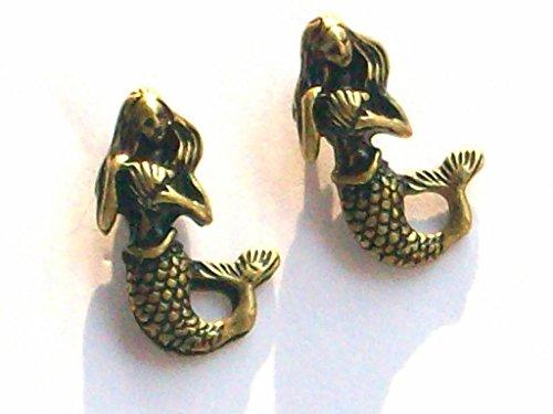 Vintage Look Little Mermaid Siren Stud Earrings W Gift Box & Organza Bag front-1002825