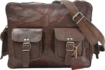 Umhängetasche Gusti Leder Vintage XL Notebooktasche Schultertasche Businesstasche Messengerbag Collegetasche Büro Ordner Braun U20A