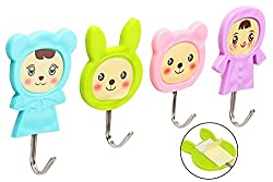 4 Hooks Self-Adhesive Plastic Wall Hanging Cartoon Design Hooks, Total Load Capacity 3Kg