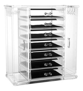 "Acrylic Deluxe Jewel Box - 7-Drawer Jewelry Chest With Necklace Keeper (Clear) (11 7/8""H x 10 3/4""W x 5 7/8""D)"