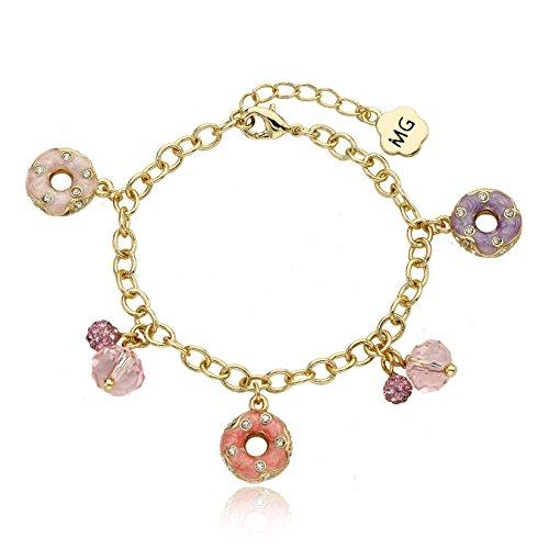 Molly Glitz Sparkle Sweet 14k Gold-Plated Crystal Studded Donuts Charm Bracelet …