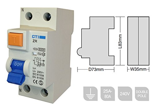 CTI Double Pole RCD Main Switch ZR80 80A - 30mA