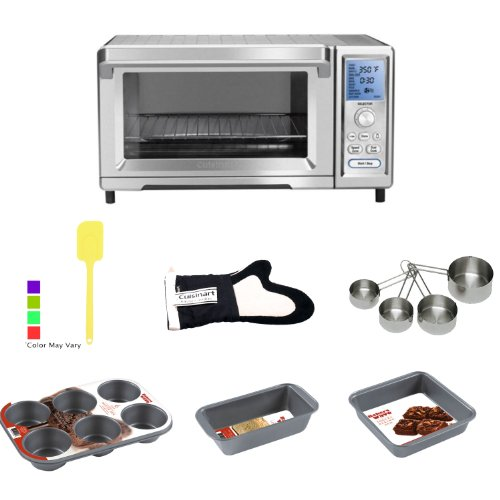 Cuisinart Tob260 Dual Cook Convection Toaster With Hds Trading Pans + Cuisinart Oven Mitt + Measuring Cup + Silicone Spatula
