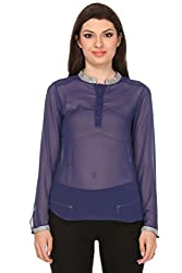 Oyshi Women's Embellished Top (DB1010M, Dark Blue, Medium)