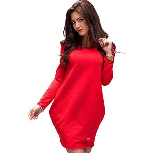 FEITONG donne inverno casual sciolto manica lunga aderente abito lungo (M, Rosso)