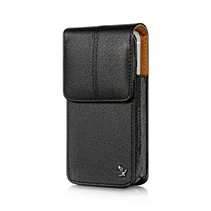 Importer520 Design Black Leather Pebbled Texture Vertical Belt Loop Magnetic Closing Flap Pouch Case for Samsung Gravity2 T469