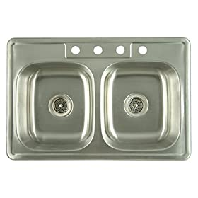 Elements of Design K33228DBN# 22 Gauge Double Bowl Stainless Steel Self-Rimming Kitchen Sink, Brushed Nickel