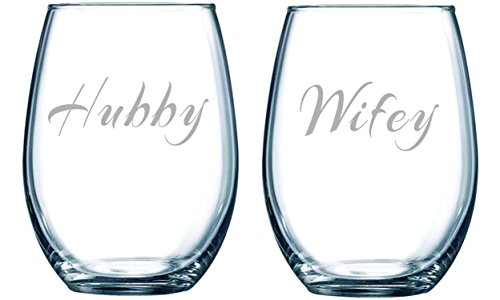 Hubby and Wifey Stemless Set