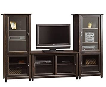 Brown Entertainment Center Flat Screen Tv Stand Matching Media Towers Storage Cabinets Vintage Antique Finish Shelves for Tv Components Glass Doors Completes the Media Center