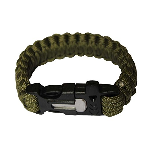 OmeGod® Outdoor Survival Paracord Rope Bracelet with Magnesia Fire Starter Stainless Scraper and Whistle, 7-Strand Parachute Cord (Army Green)