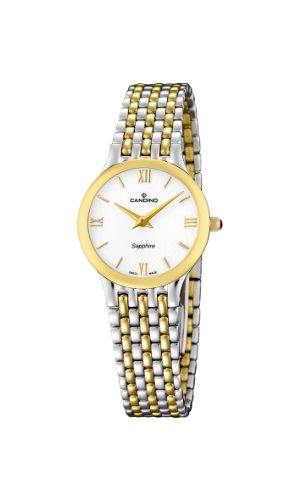 Candino Women's Quartz Watch with White Dial Analogue Display and Multicolour Stainless Steel Bracelet C4415/1