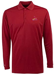 St Louis Cardinals Long Sleeve Polo Shirt (Team Color) by Antigua