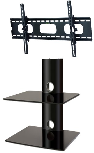 PACKAGE DEAL! Two GLASS SHELVES Wall Mount for Audio Video Components-all BLACK + Universal TILT Bracket for ALL TV Brands 37 40 46 52 55 60 inch Flat Panel-HD Ready Screen