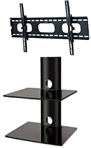 Buying Guide of  PACKAGE DEAL! Two GLASS SHELVES Wall Mount for Audio Video Components-all BLACK