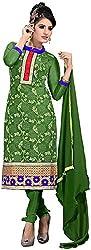 K.K BROTHERS Women's Net Dress Material (Green)