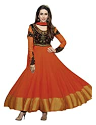 Kalki Fashion Unstitched Anarkali Suit In Orange With Embroidered Bodice
