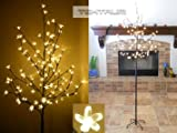 Tektrum 6.5 Tall/108 Warm White LED Lighted Cherry Blossom Flower Tree for Christmas/Holiday/Party