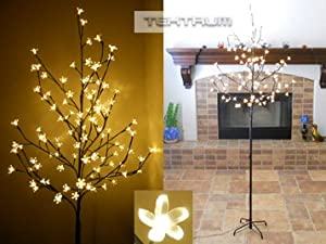 #!Cheap Tektrum 6.5' Tall/108 Warm White LED Lighted Cherry Blossom Flower Tree for Christmas/Holiday/Party