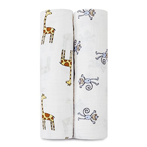 aden + anais Classic Muslin Swaddle Blanket 2 Pack, Jungle Jam