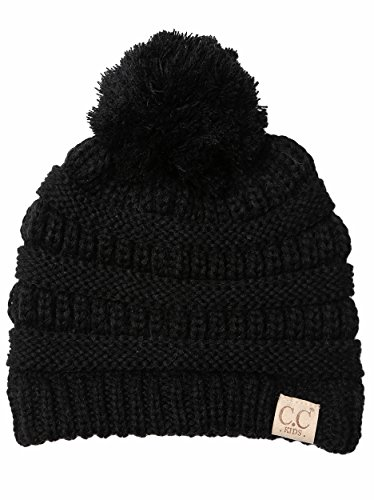 H-6847-06 Children's Pom Beanie - Black