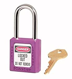 Master Lock 410KAPRP2KEY Safety Series Padlock for Lockout/Tagout Applications, Purple