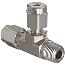 Parker A-Lok 2MRT2N-316 316 Stainless Steel Compression Tube Fitting, Run Tee, Tube OD x Tube OD x NPT Male