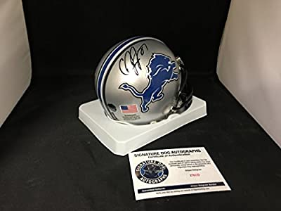 Calvin Johnson Autographed Signed Detroit Lions Mini Helmet Witnessed COA & Hologram