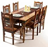 IndianHub Six Seater Dining Table (Brown)