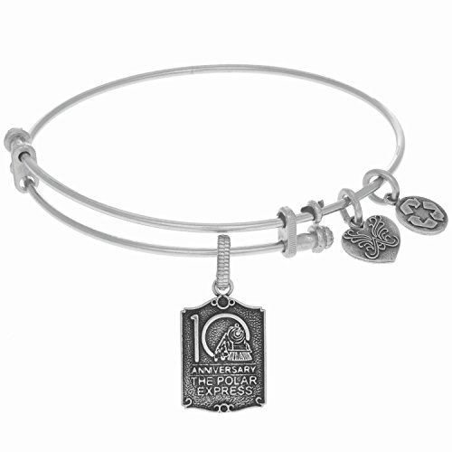 Angelica White Rhodium Over Brass 10Th Anniversary Bangle Charm Bracelet 7.25 Inches Adjustable
