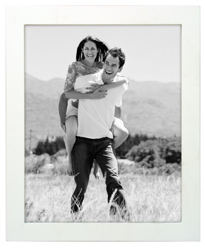 Malden International Designs Linear Wood Picture Frame, 8 by 10-inch White