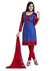 Inddus Women Blue & Red Cotton Unstitched Dress Material