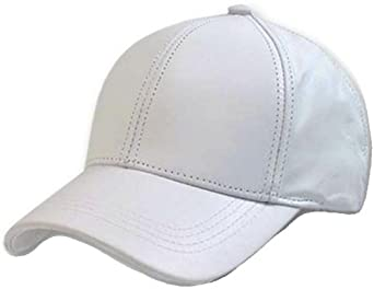 white leather adjustable baseball cap hat made in usa at