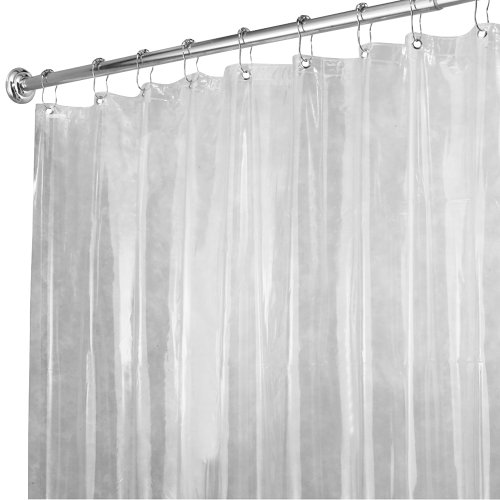 InterDesign X-Long Shower Curtain Liner, Clear Hardware Plumbing ...