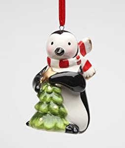 3.5 inch Black and White Penguin Holding Green Tree Christmas Ornament