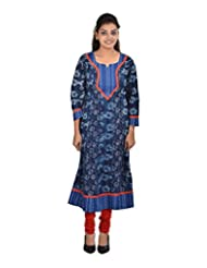 Beautiful PLus Size A Line Women's Cotton Round Neck Kurta In Size 42