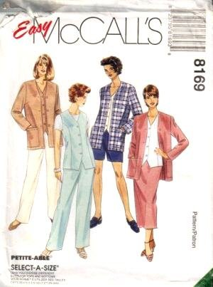 McCall's Sewing Pattern 8169 Women's Unlined Jacket, Unlined Vest, Pull-on Pants, Shorts & Skirt, J (Size 44 46 48)