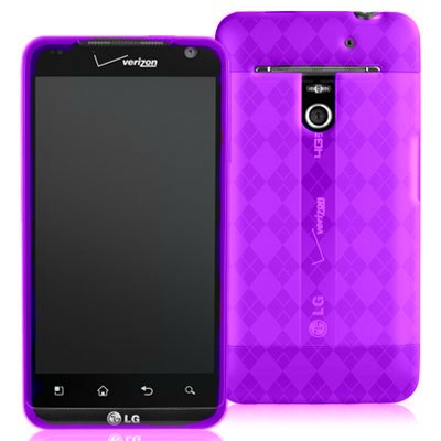 Argyle Flexible TPU Cover Skin Phone Case For LG VS910 / Revolution - Purple