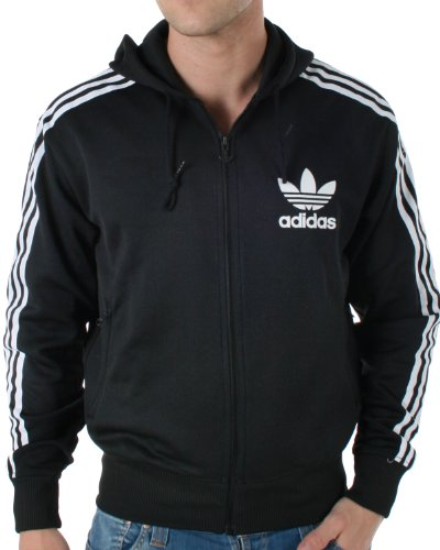 Adidas Originals Mens Adi Hooded Flock Black Track Top Hoody Size M