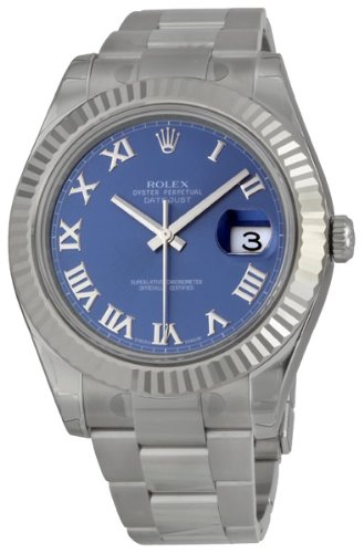 Rolex Datejust II Blue Roman Dial Fluted 18k White Gold Bezel Oyster Bracelet Mens Watch 116334BLRO