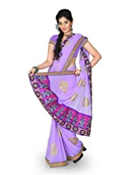 Designersareez Women Chiffon Embroidered Bright Lavender Saree With Unstitched Blouse(1217)