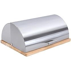 Songmics Panera de acero inoxidable con tapa deslizante 39 x 28 x 16 cm KBB40S